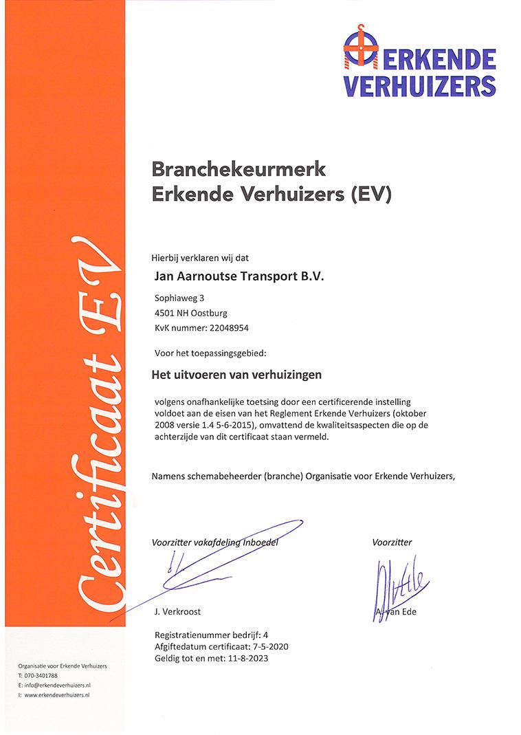 certificering Erkende Verhuizers met het certificaat